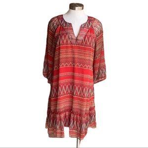Joy Joy Red Boho Print 3/4 Sleeve Dress Large